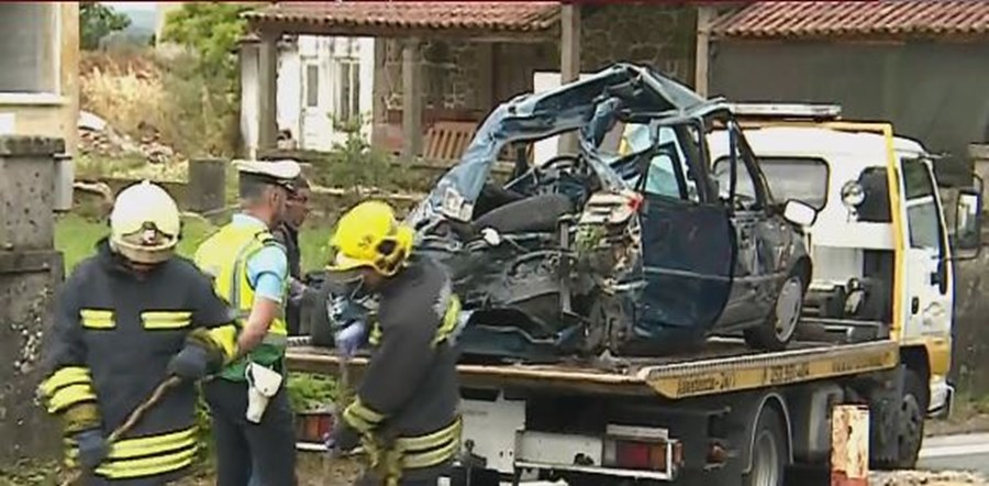 Colisão de carro e comboio em Barcelos mata avós e neto