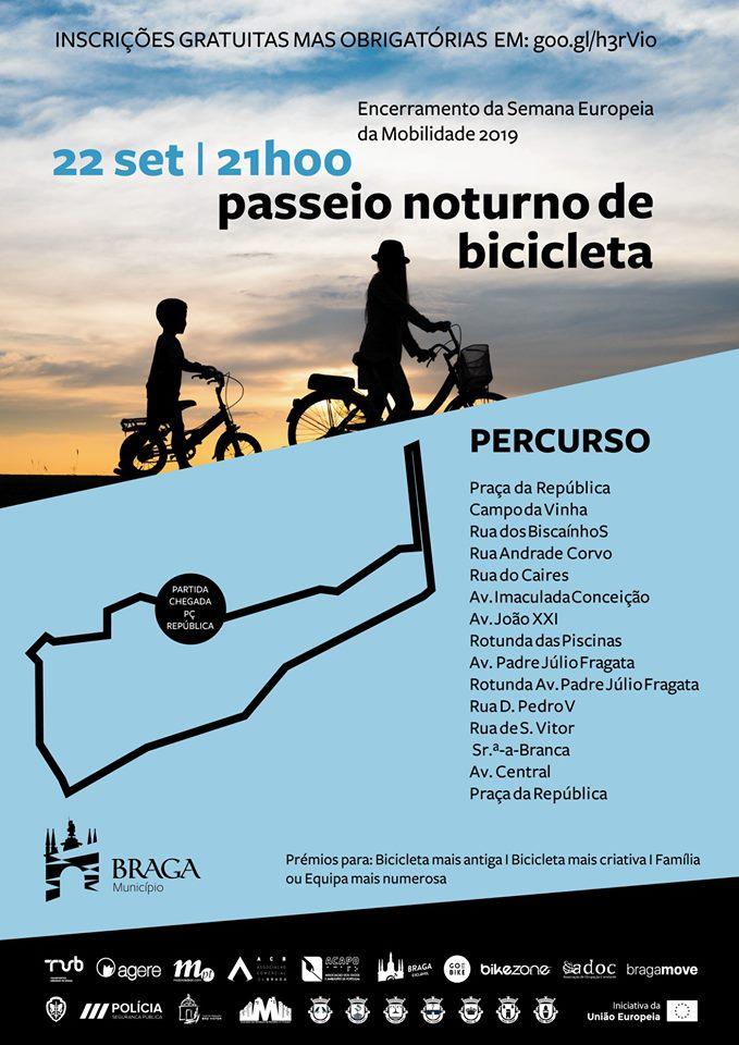 Passeio nocturno de bicicleta por Braga assinala dia 22 Semana da Mobilidade