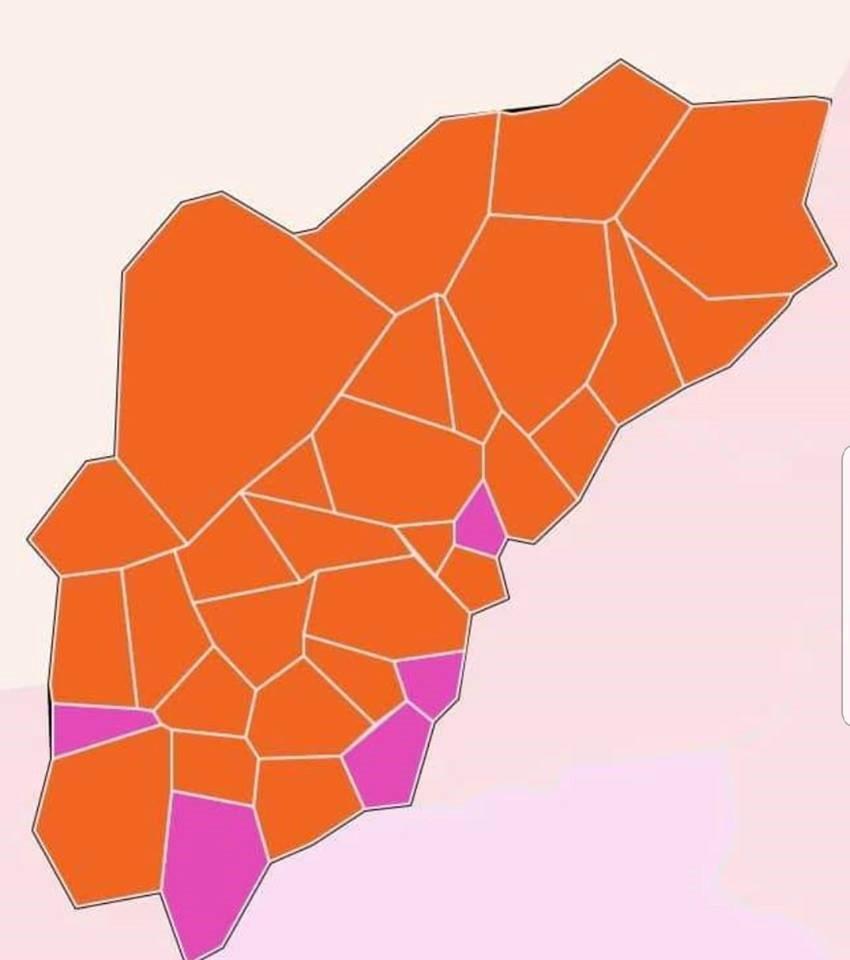 ELEIÇÕES - Vila Verde: Cinco pontos rosa num mapa laranja que sai das Legislativas