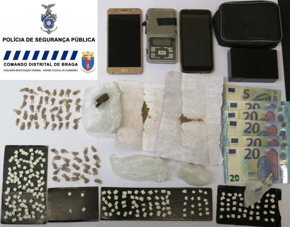 PSP detém homem e mulher na posse de 280 doses de droga em Guimarães