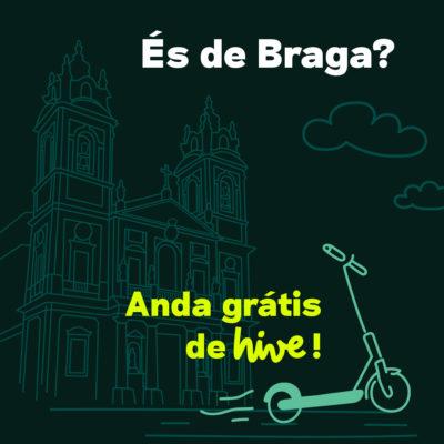 Hive oferece viagens gratuitas de trotinete em Braga