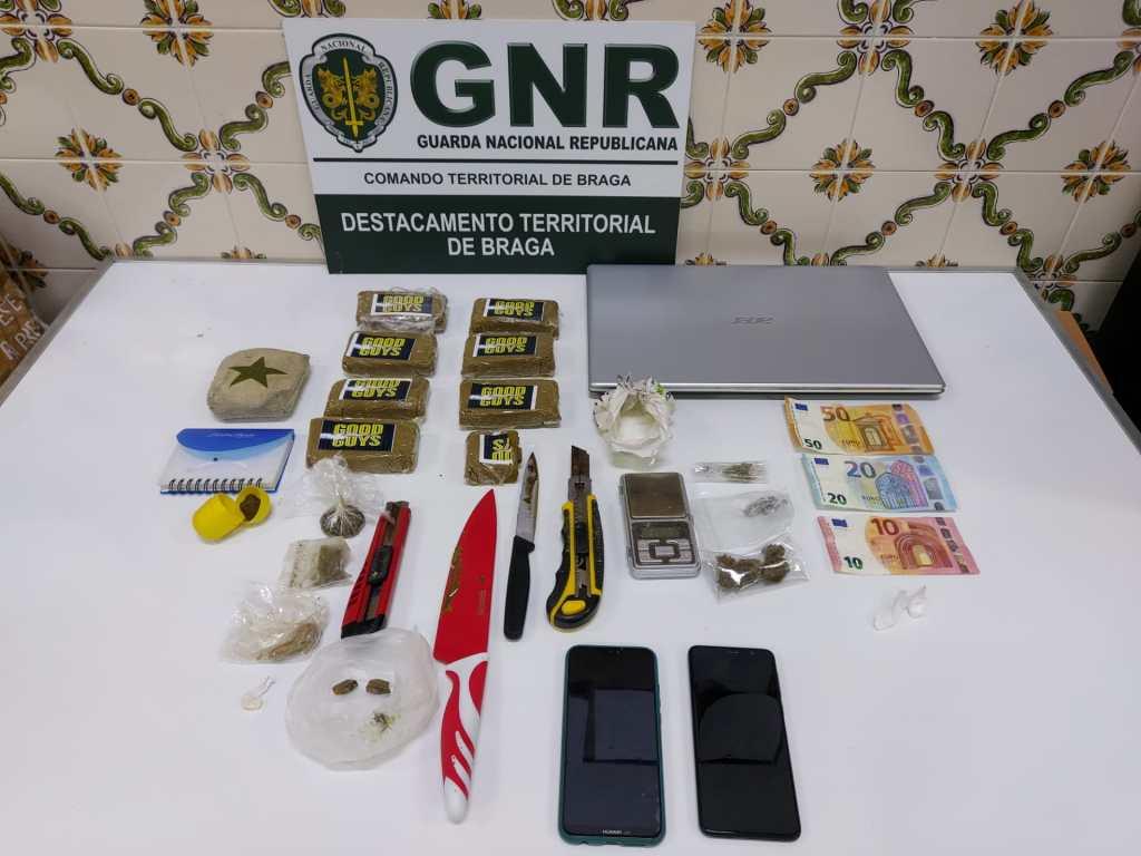 GNR detém homem com quase duas mil doses de droga em Barcelos