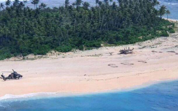 SOS na areia 'resgata' três homens de ilha do Pacífico