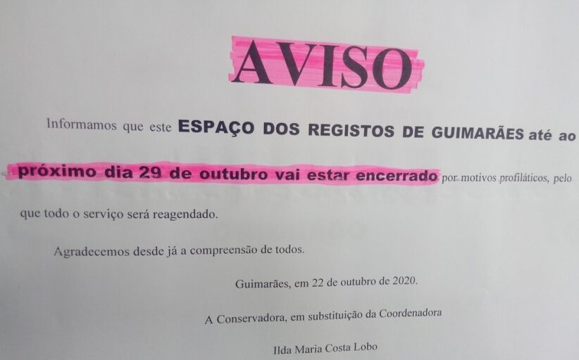 Loja de Registos de Guimarães encerra devido ao covid-19 em funcionários