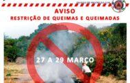 Restrição de queimas e queimadas até segunda-feira em Braga